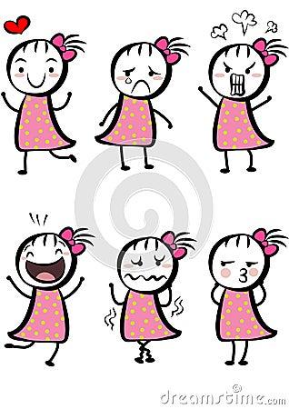 Simple cute cartoon girl