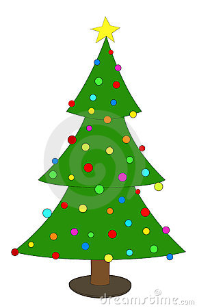 Simple decorated Christmas tree