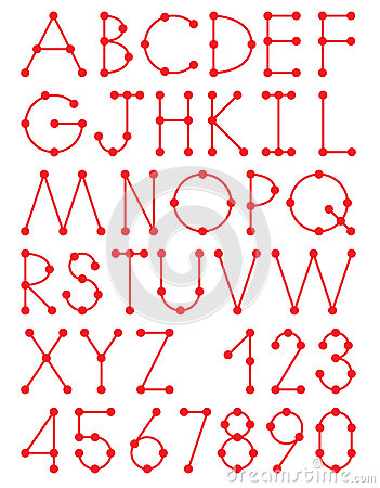 letters alphabet dotted letters red dotted alphabet letters eps10 royalty free stock photos