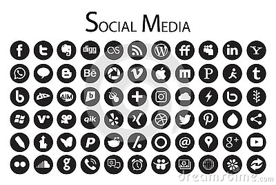 66 Circle Social Media Icons black and white. Editorial Stock Photo