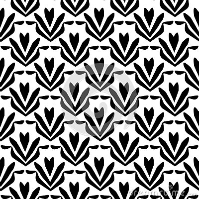 Flower pattern.black and white Seamless floral pattern, geometric texture Vector Illustration