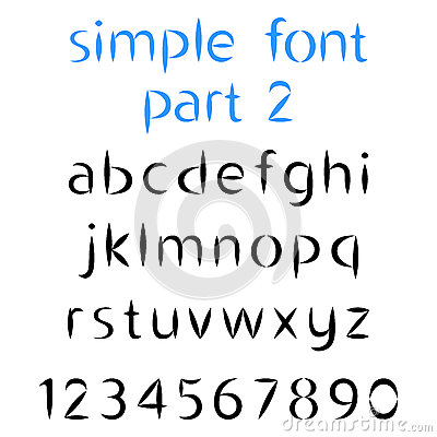how many letters are there in the alphabet simple font the second part lowercase letters and 22180