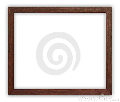 Wooden frame on white background, clipping path included.