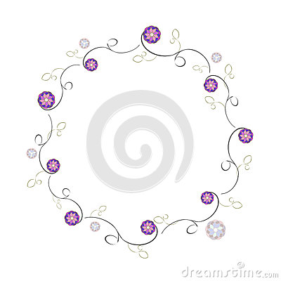 Simple frame of flowers violet