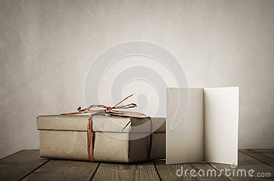 Simple Gift Box and Card on Table