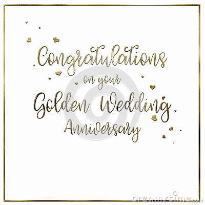 Simple Golden Wedding Anniversary Card Illustration Image – Words for an Anniversary Card