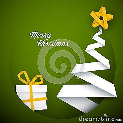 Simple  green christmas card illustration