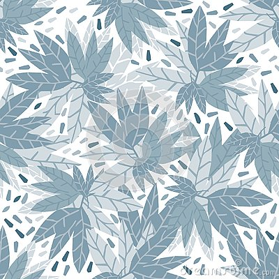 Simple green leaves seamless pattern on white background Cartoon Illustration