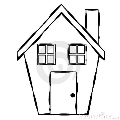 Simple House Line Art Royalty Free Stock Image - Image ...