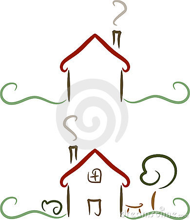 Simple house logo illustration royalty free stock photos for Minimalist house logo