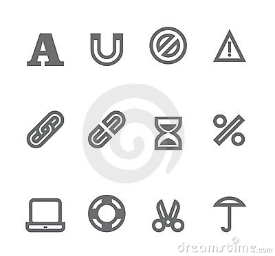 Simple icons isolated on white - Set 10