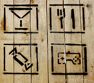 Simple icons on wooden background