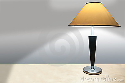 Simple Lamp on a Desk Casting a Shadow