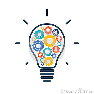 Free Simple Light Bulb Conceptual Icon With Colorful Royalty Free Stock Image - 46867526