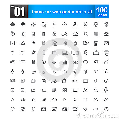 Free Simple Line Icons For Web Design And Mobile Ui Stock Photos - 55532483
