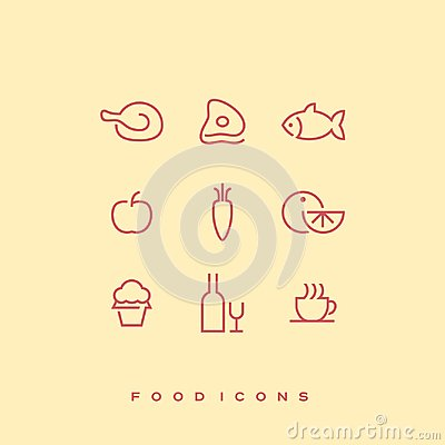 Simple line vector food icon set. Chicken, beef, fish, apple, carrot, orange, cupcake, bottle of wine and wine glass Vector Illustration