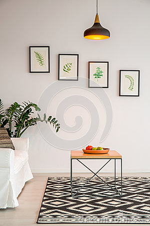 Free Simple Living Room With Table Stock Image - 88186221