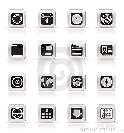 Simple Mobile Phone, Computer and Internet Icons