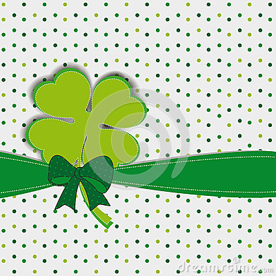 Simple modern card with four-leaf clover