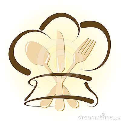 Simple Restaurant Icon With Chef Hat And Cutlery Stock Photography ...