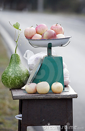 Simple roadside fruit stand