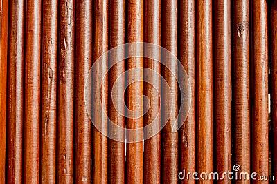 Simple round teak wood wall