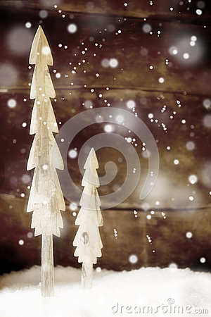 Free Simple Rustic Christmas Trees In Snow Royalty Free Stock Images - 34089609