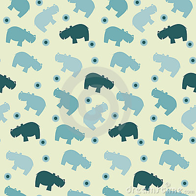 Simple seamless hippo papttern