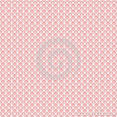 Simple seamless lace mesh texture. White grid on the pink background. Vector Illustration