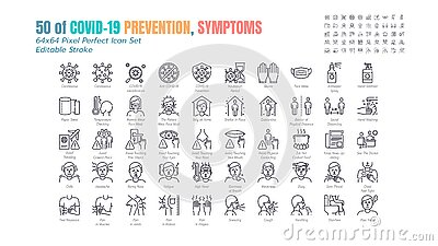 Simple Set of Covid-19 Prevention Line Outline Icons. such Icons as Protective Measures, Coronavirus, Social Distancing, Symptoms Vector Illustration
