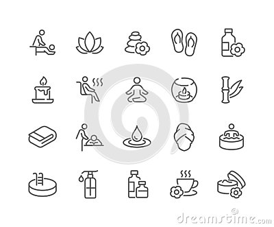Line SPA Icons Vector Illustration