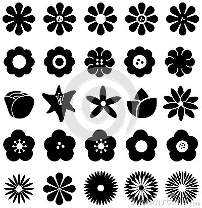 Free Simple Shape Geometric Flower Such As Rose Tulip Sunflower Daisy Stock Photo - 59697190