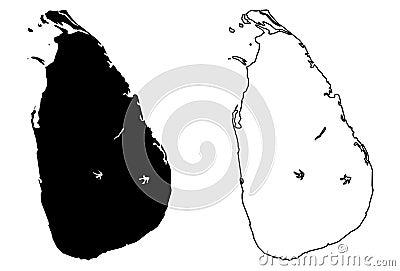 Simple only sharp corners map of Sri Lanka Ceylon vector dra Vector Illustration
