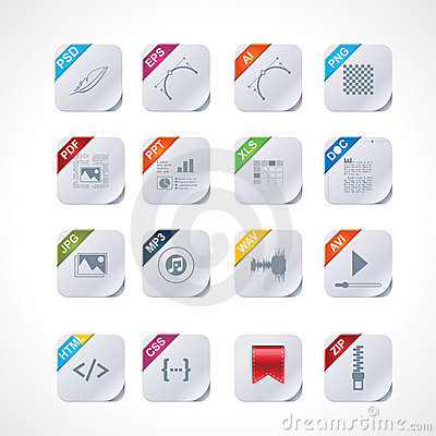 Free Simple Square File Labels Icon Set Stock Images - 21708404
