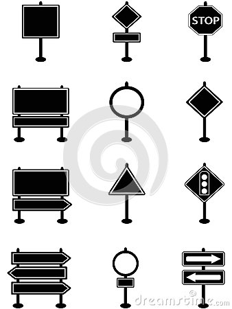 Simple traffic sign and road sign icons