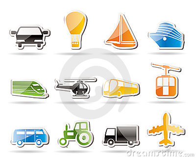 Simple Transportation and travel icons