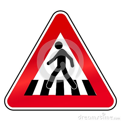 Free Simple, Triangular, Flat Crosswalk Sign. Red, Black And White Royalty Free Stock Photo - 112851625