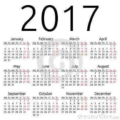 Simple 2017 year calendar,