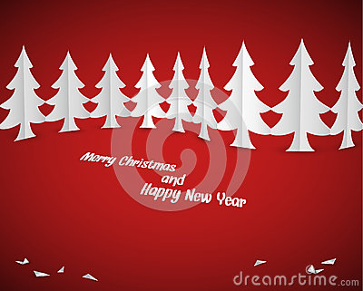 Simple vector christmas paper trees