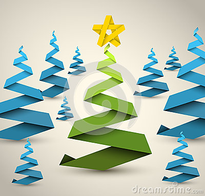 Simple vector paper christmas trees