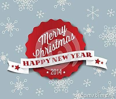 Simple vintage retro vector Christmas card 2014