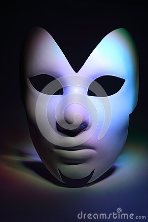 Simple white serious mask