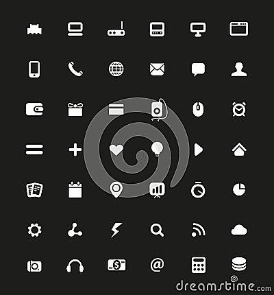 Simple white web navigation pictograms