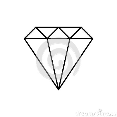 Free Simple Wire Framed Diamond Crystal Black And White Logo, Vector Royalty Free Stock Images - 115114819