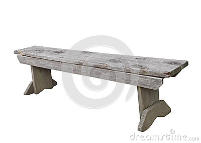 Simple wooden bench isolated.