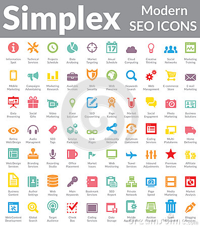 Free Simplex - Modern SEO Icons (Color Version) Stock Photo - 32336490