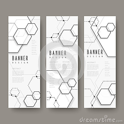 Simplicity hexagon element banners set Vector Illustration