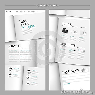 Simplicity one page website design Vector Illustration