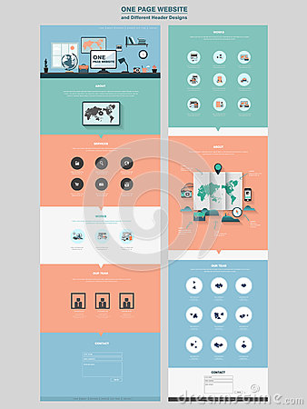 Simplicity one page website design template Vector Illustration