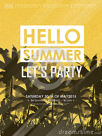 Simplicity summer beach party poster design Vector Illustration